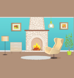 interior flat with chimney and furniture vector image