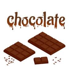 isometric set chocolate bars isolated on white vector image