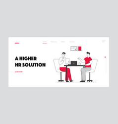 Job interview and work employment website landing vector
