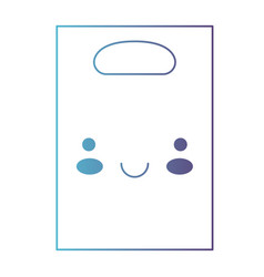 kawaii paper bag with handle in degraded blue to vector image