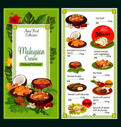 Malaysian cuisine traditional dishes food menu vector