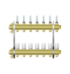 Manifold for heating with flow meters servo drive vector