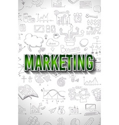 Marketing Concept with Doodle design style finding vector image