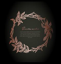 minimalist copper floral wreath flyer vector image