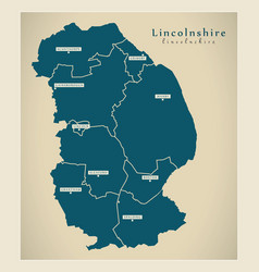 Modern map - lincolnshire county with districts uk vector