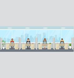 Modern office interior with employees creative vector