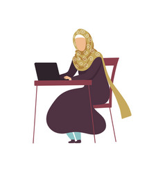 muslim woman sitting at desk working with laptop vector image