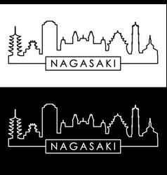 nagasaki city skyline linear style editable vector image