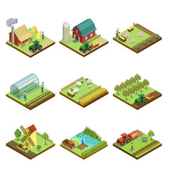 Natural farming isometric 3d elements vector