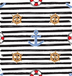 Nautical and Anchor Seamless Pattern vector
