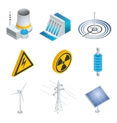 Nuclear power station Solar power station Wind vector image