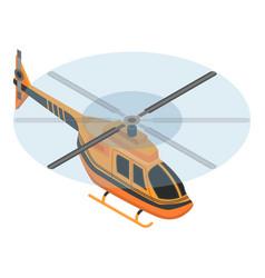 orange helicopter icon isometric style vector image