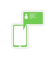 Paper sticker on white background cell phone vector