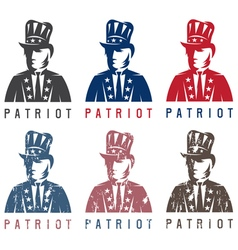 Patriotic Uncle Sam vintage labels set vector
