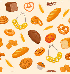 pattern with fresh pastries vector image