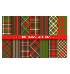 plaid pattern seamless ornate set christmas vector image