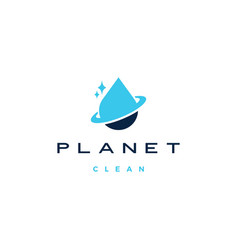 Planet clean water drop logo icon vector
