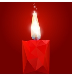 Polygonal red burning candle vector image