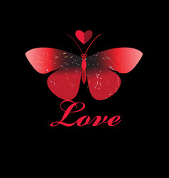 red butterfly in love with a heart vector image