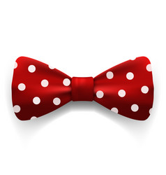 red polka dot bow tie isolated on white vector image