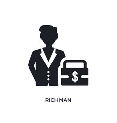Rich man isolated icon simple element from luxury vector