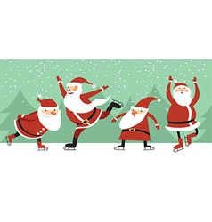 Santa Clauses on ice rink vector