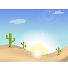Scene of a cactus in the desert vector image