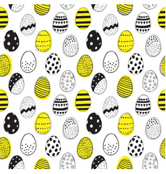 Seamless pattern with easter eggs doodles vector