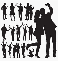 selfie silhouettes vector image