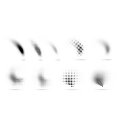set halftone dots curved gradient pattern vector image