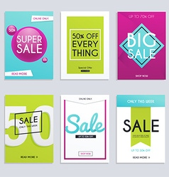 Set media banners with discount offer Shopping vector