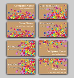set of business card with irregular circles vector image