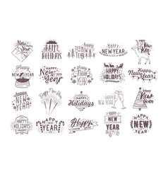 set of holiday happy new 2018 year handwritten vector image