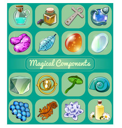 Set of magical items sketch for holiday stickers vector