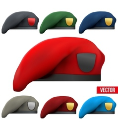 Set of Military colorful Berets Army Special vector