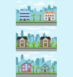 set of three of city street vector image