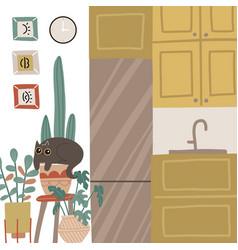 Small kitchen stylish cozy interior hygge mood vector