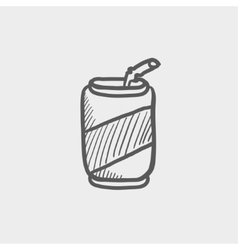 Soda can with straw sketch icon vector image