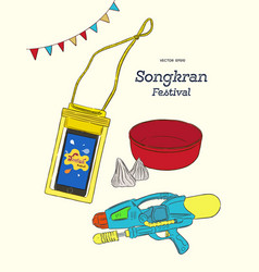songkran thai festival water party vector image