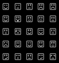 Square face line icons on black background vector image