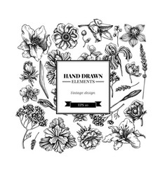 Square floral design with black and white anemone vector