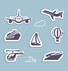 Stickers of sea and air transport vector
