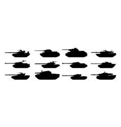 tanks silhouettes set vector image