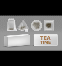teabags mockups with labels various shapes vector image