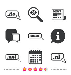 Top-level domains signs de com net and nl vector