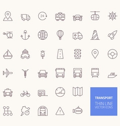 transportation outline icons for web and mobile ap vector image