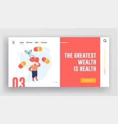 vegetarian diet and healthy food website landing vector image
