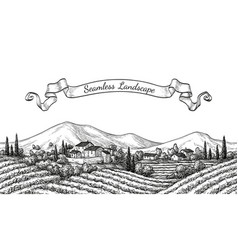Vineyard seamless landscape vector