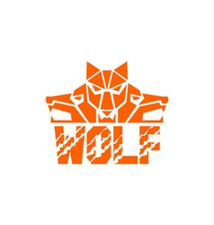 Wolf Pack Head Retro vector