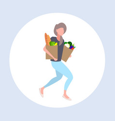 woman grocery shop customer holding paper bags vector image